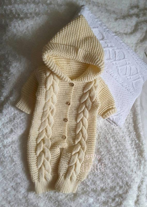 3e140c024b0fa Hand knitted baby clothes Baby knit vanilla romper Knit romper 3 - 6 months  baby age Knitted hooded