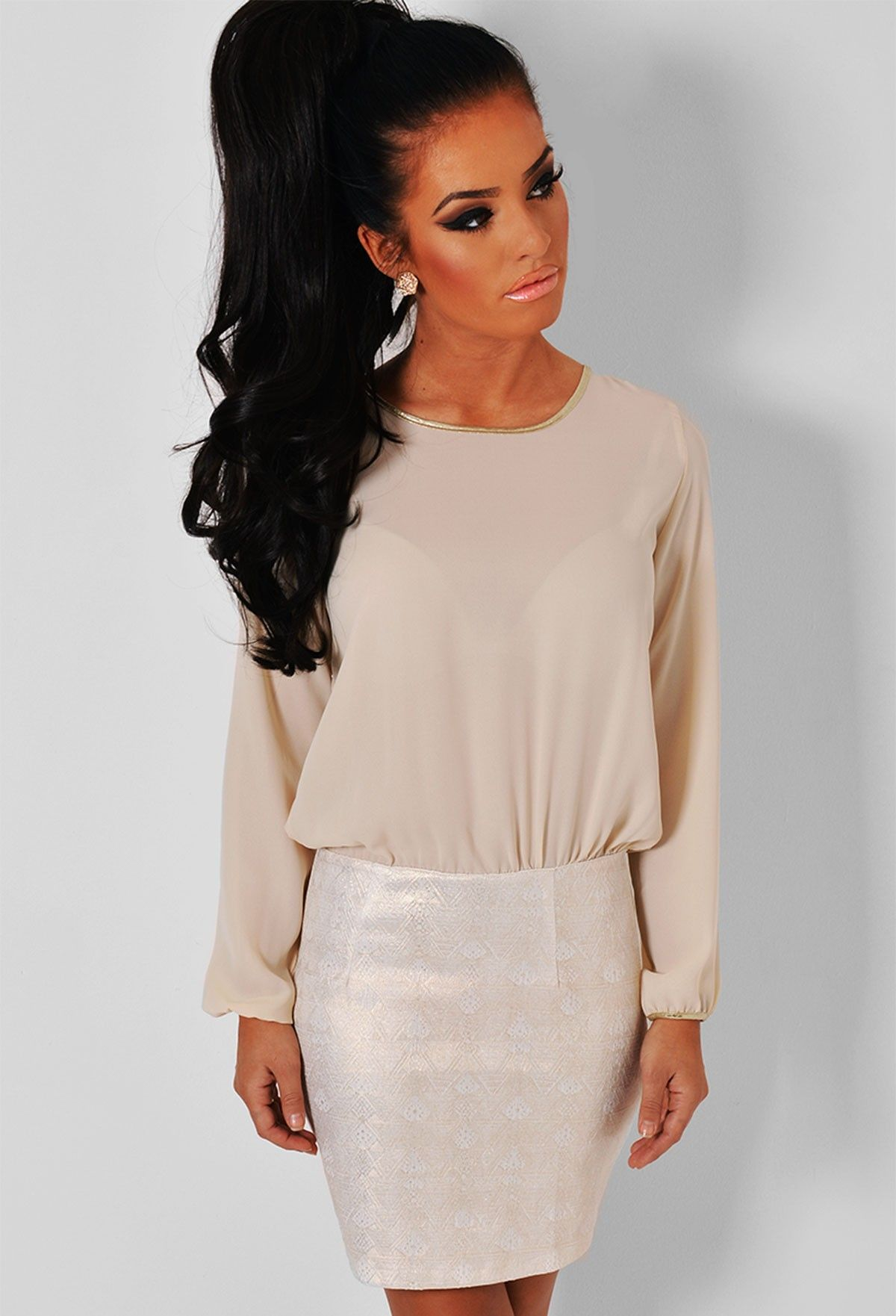 Chandelier cream u gold long sleeved mini dress pink boutique