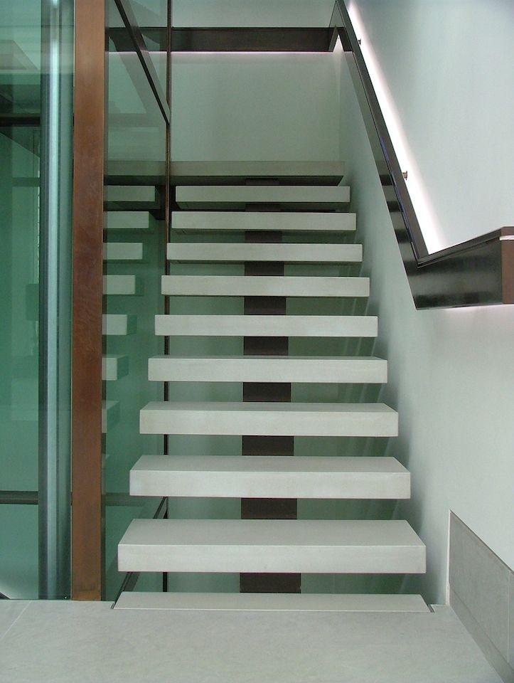 Bespoke Concrete Stair Treads By MASS Spec: Special  Grey/278/A_Polished_Impreg