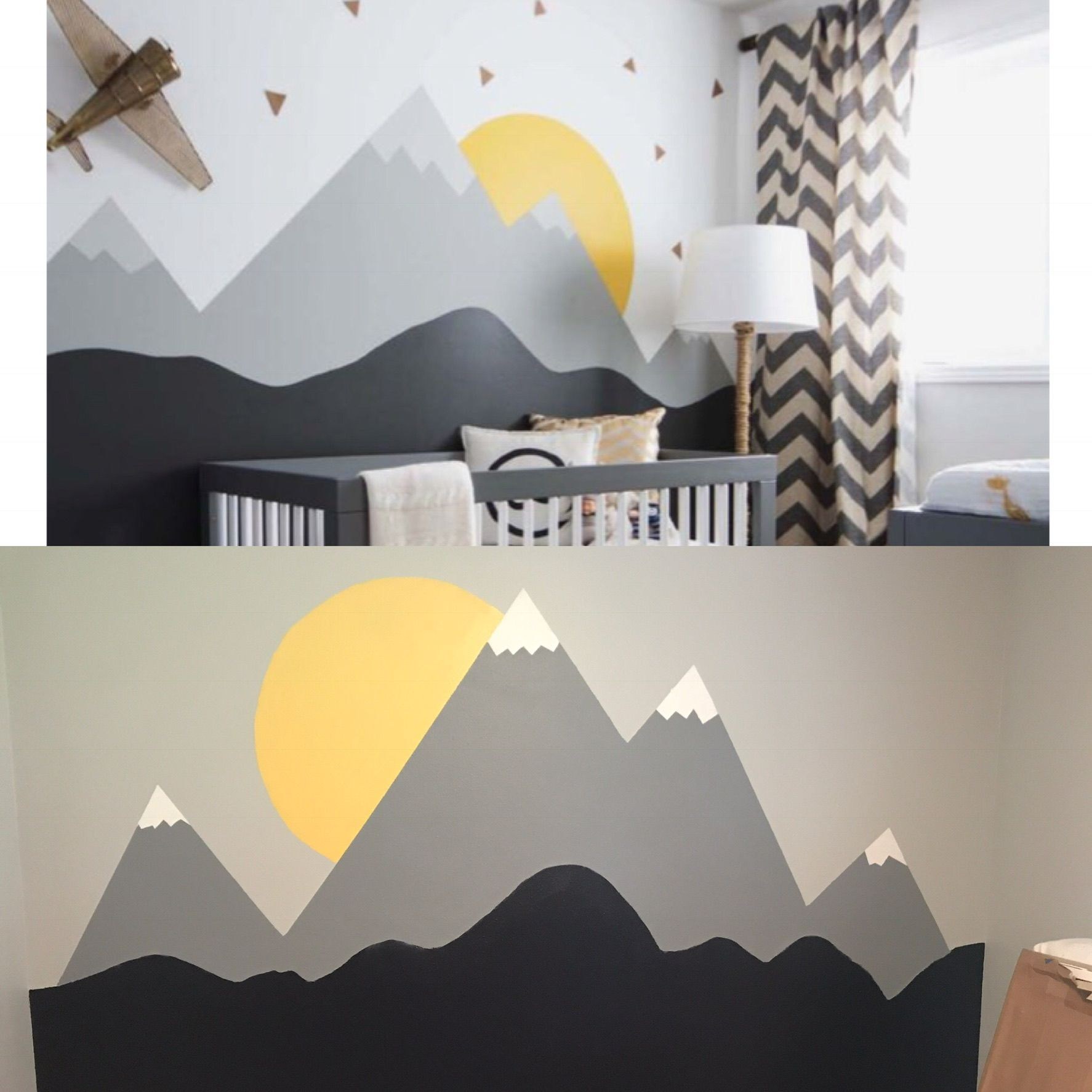 Mountain Mural On Top The Inspiration Below Is What I Painted