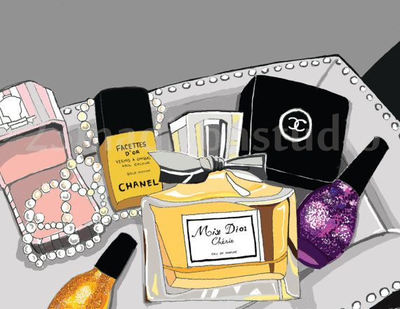 Perfumes & makeup painting for closet or bathroom