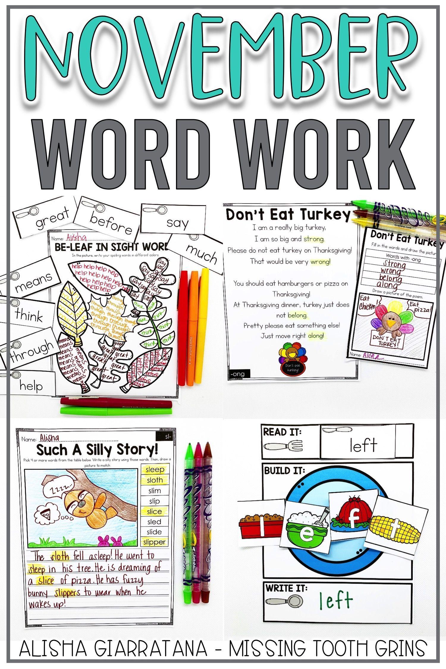 Word Work Center November