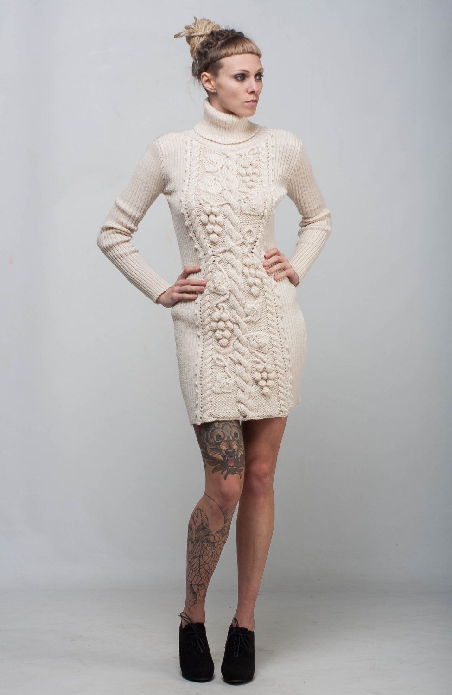 8bbc12fb396 Ivory Cable Knit dress sheath white dress handmade winter dress turtleneck  wool dress crochet long sleeve sweatshirt crochet creamy dress by ...