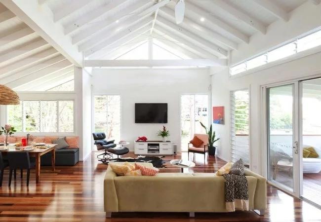Bob Vila Radio Pros And Cons Of Cathedral Ceilings Beams Living Room Cathedral Ceiling Living Room Painted Beams