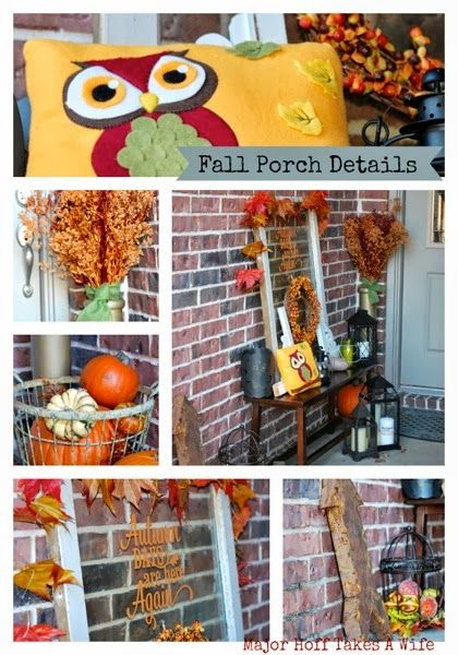 A fabulous fun porch in Texas decked out for fall. Lots of pumpkin and touches of color