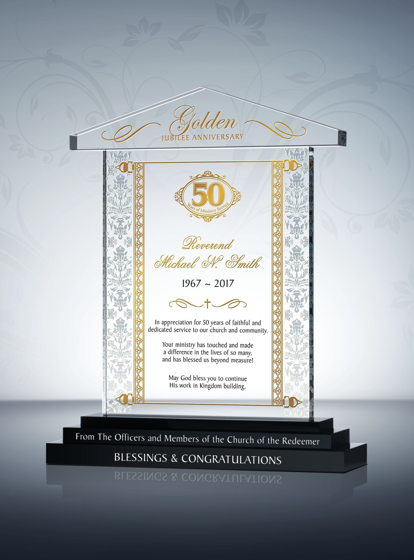 50th Pastoral Anniversary Gift Plaque Pastor Gift