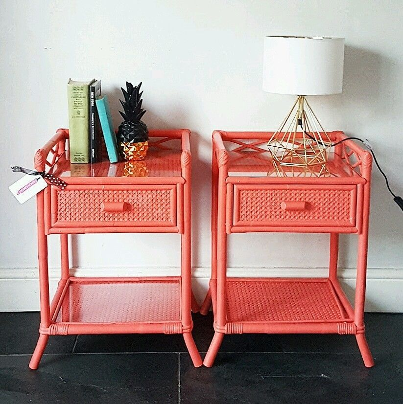 Pair Of Upcycled Painted Vintage Cane Rattan Bedside Cabinets