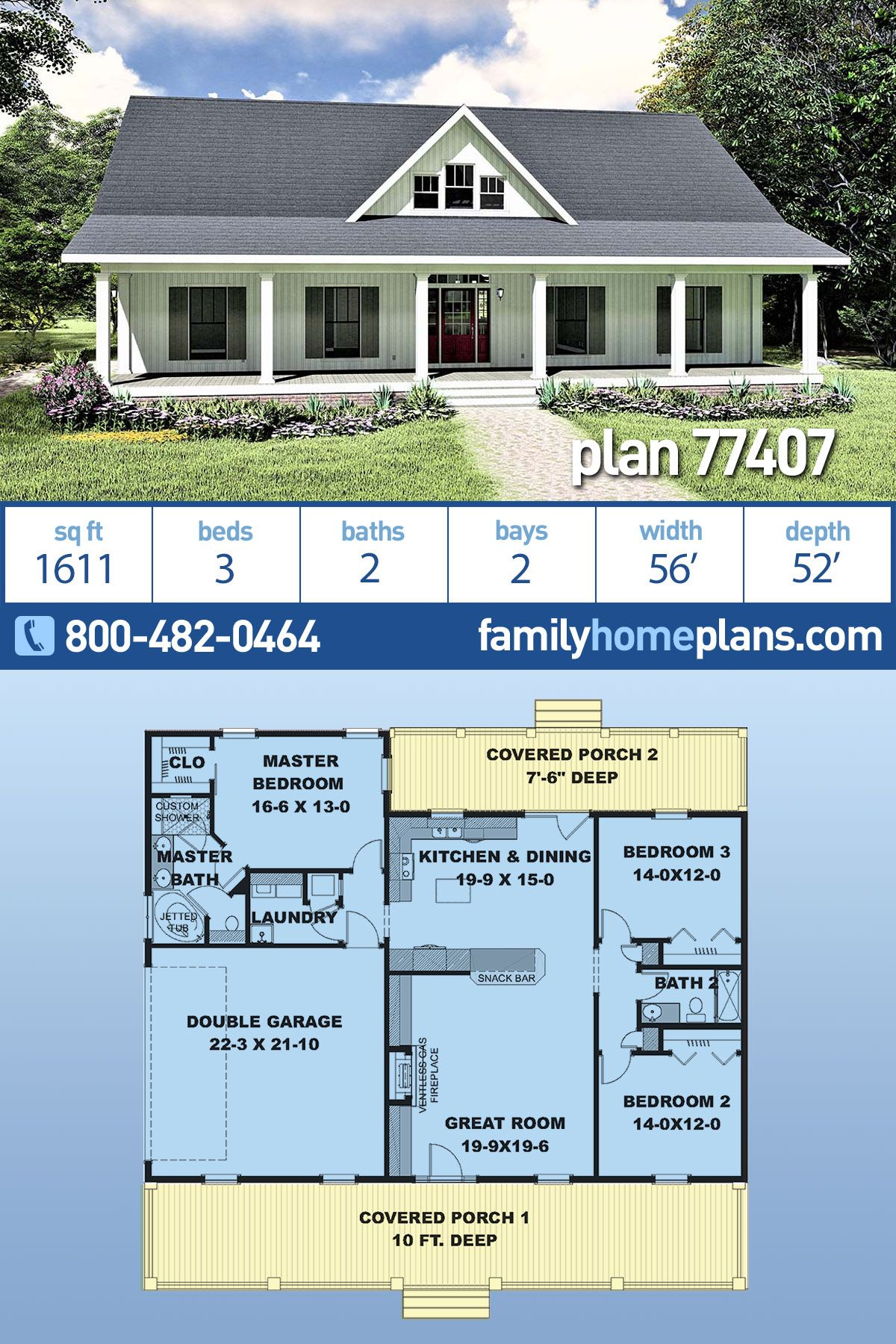 Southern Style House Plan 77407 With 3 Bed 2 Bath 2 Car Garage Southern House Plan Dream House Plans Barn House Plans