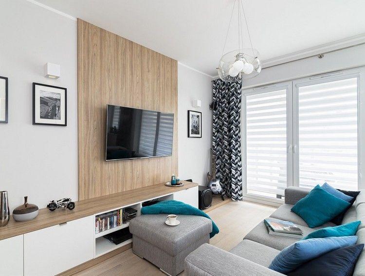 Salon Clair En Blanc Et Gris Avec Un Panneau Mural Bois Ecran Plasma Meuble  Tv Bac