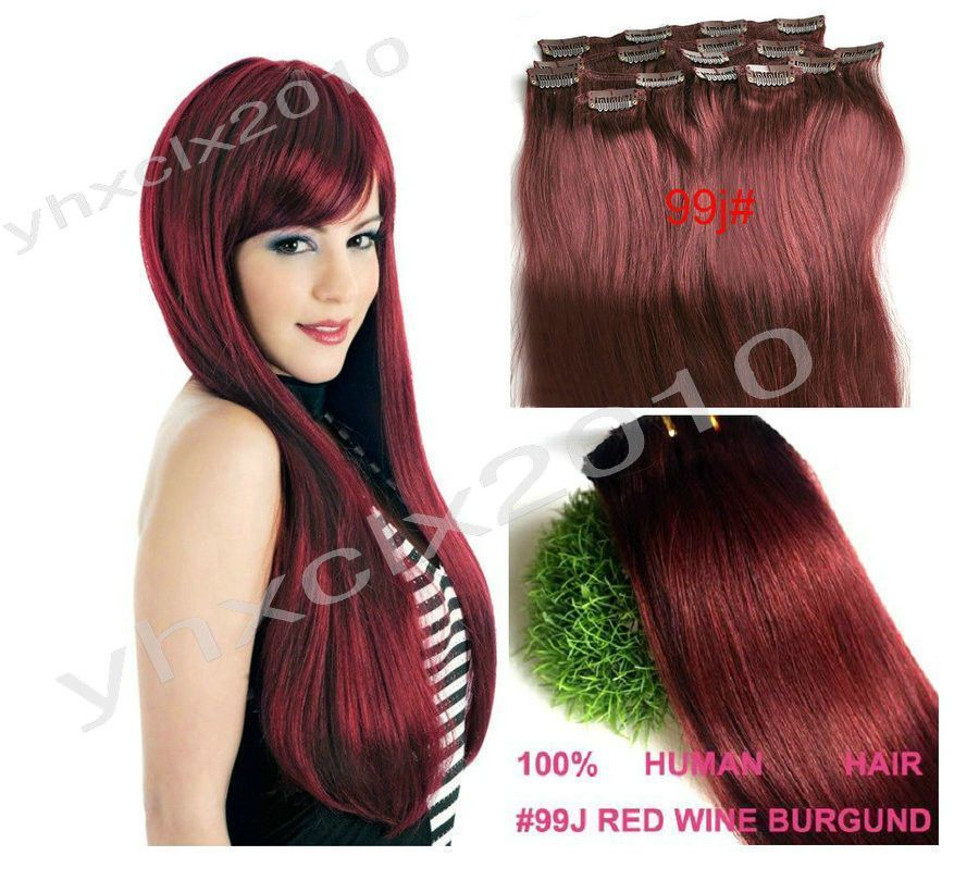 14 30 Full Head Best Quality Clip In Human Hair Extensions 99j