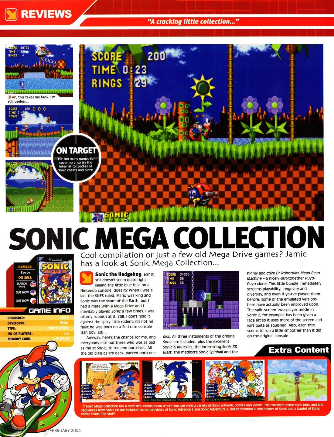 sonic mega collection retro review pg1 from g force magazine issue