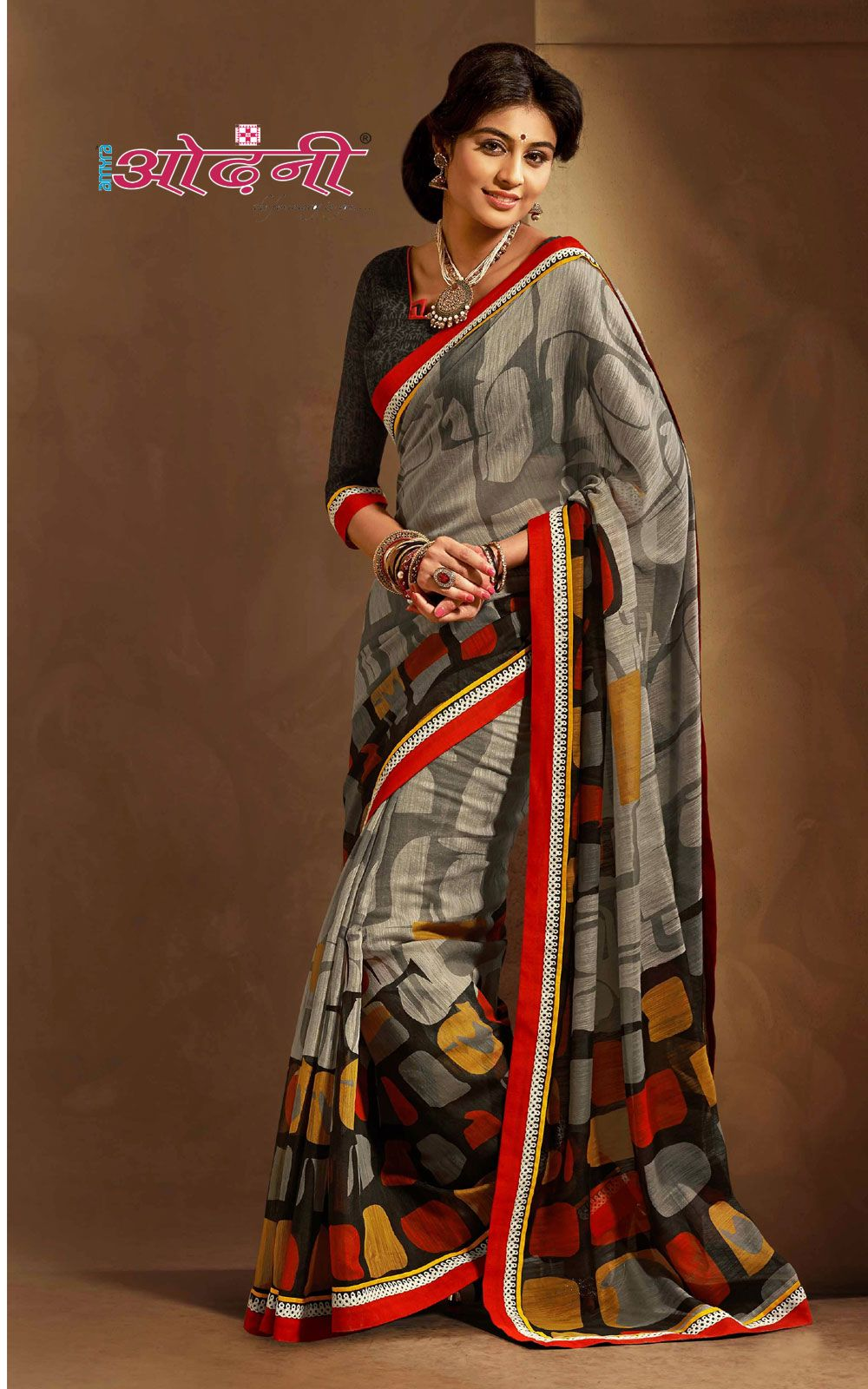 Black colour printed silk sarees with blouse piece things to
