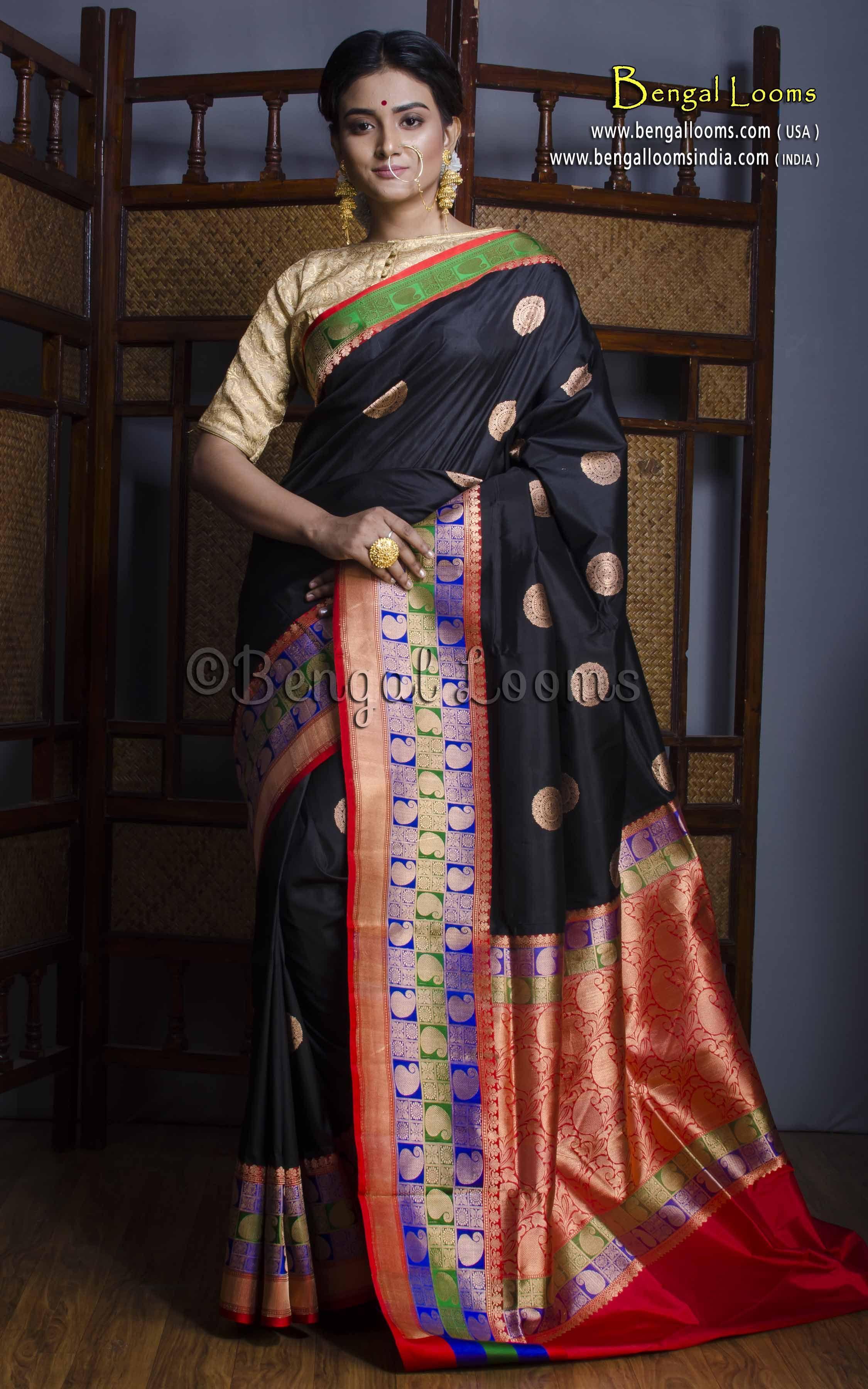 2925bff38 Pure Katan Silk Minakari Banarasi Saree in Black and Red   Indian ...