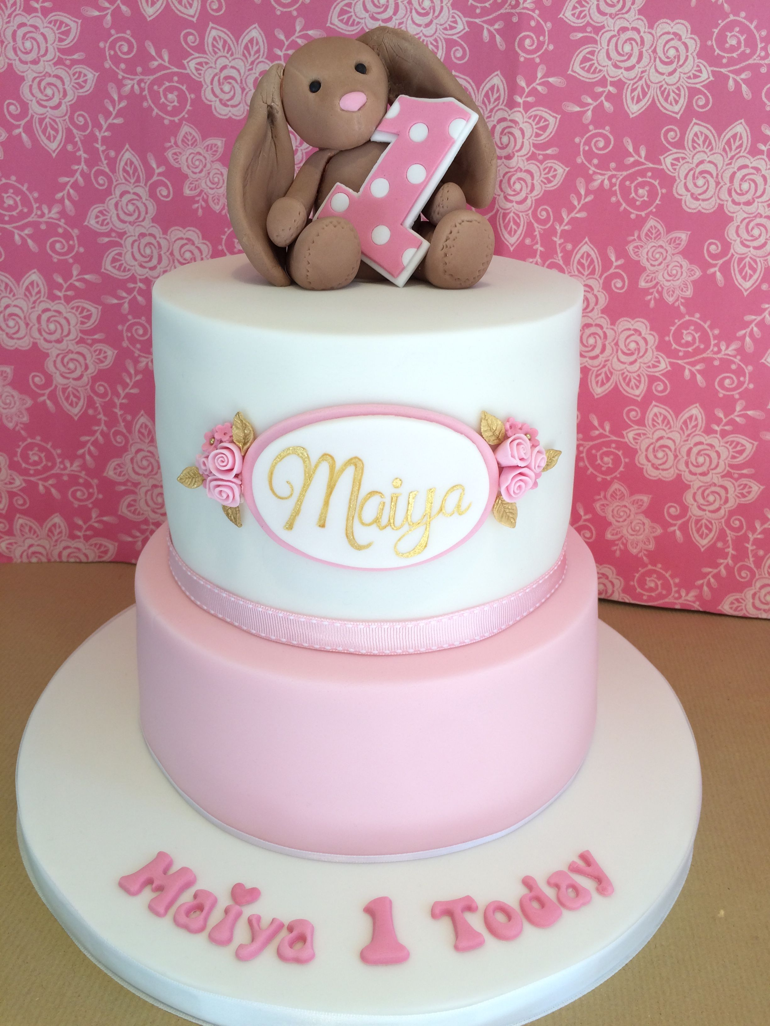 Pink And White Two Tier Girls First Birthday Bunny Cake With Name