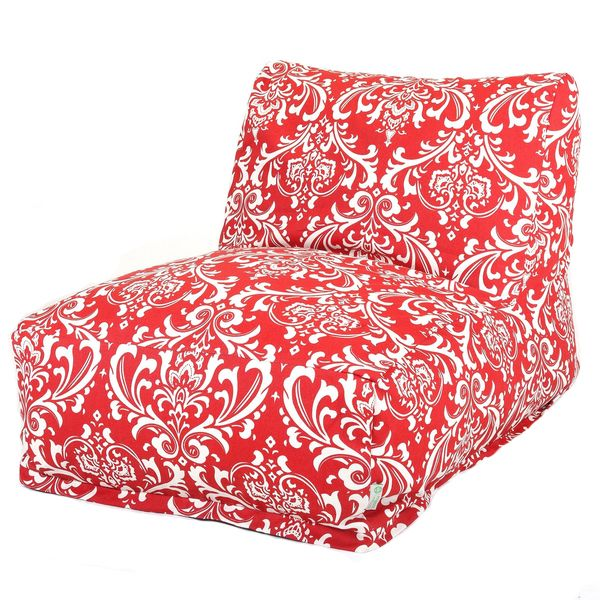 Red And White French Quarter Lounger Foam Bean Bag Chair