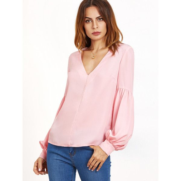 SheIn(sheinside) Pink V Neck Bishop Sleeve Top (1,025 INR) ❤ liked on Polyvore featuring tops, bishop sleeve tops, pink top and v-neck tops