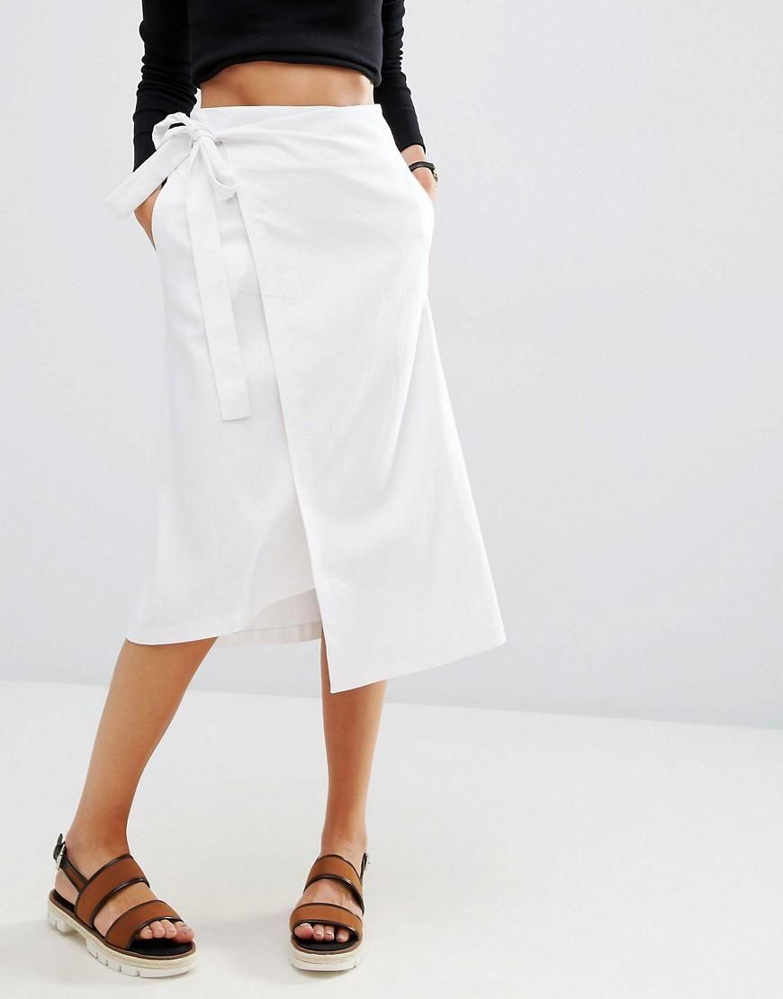 53651316ed ASOS | ASOS Midi Linen Wrap Skirt at ASOS | p l e i n . in 2019 ...