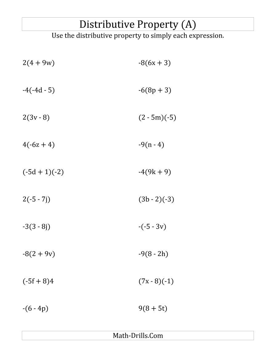 Worksheets The Distributive Property Worksheets the using distributive property answers do not include exponents a math worksheet from algebra worksheets page at dril