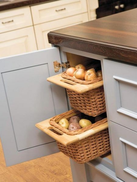 Genius Kitchen Cabinet Storage Hack Pull Out Wicker Baskets For Storing Onions And Potatoes