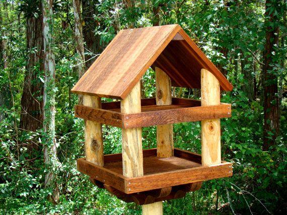 Jan 2017 Sale Large Wooden Bird Feeder By Woodbirdfeederfrenzy Wood Bird Feeder Wooden Bird Feeders Bird House Feeder