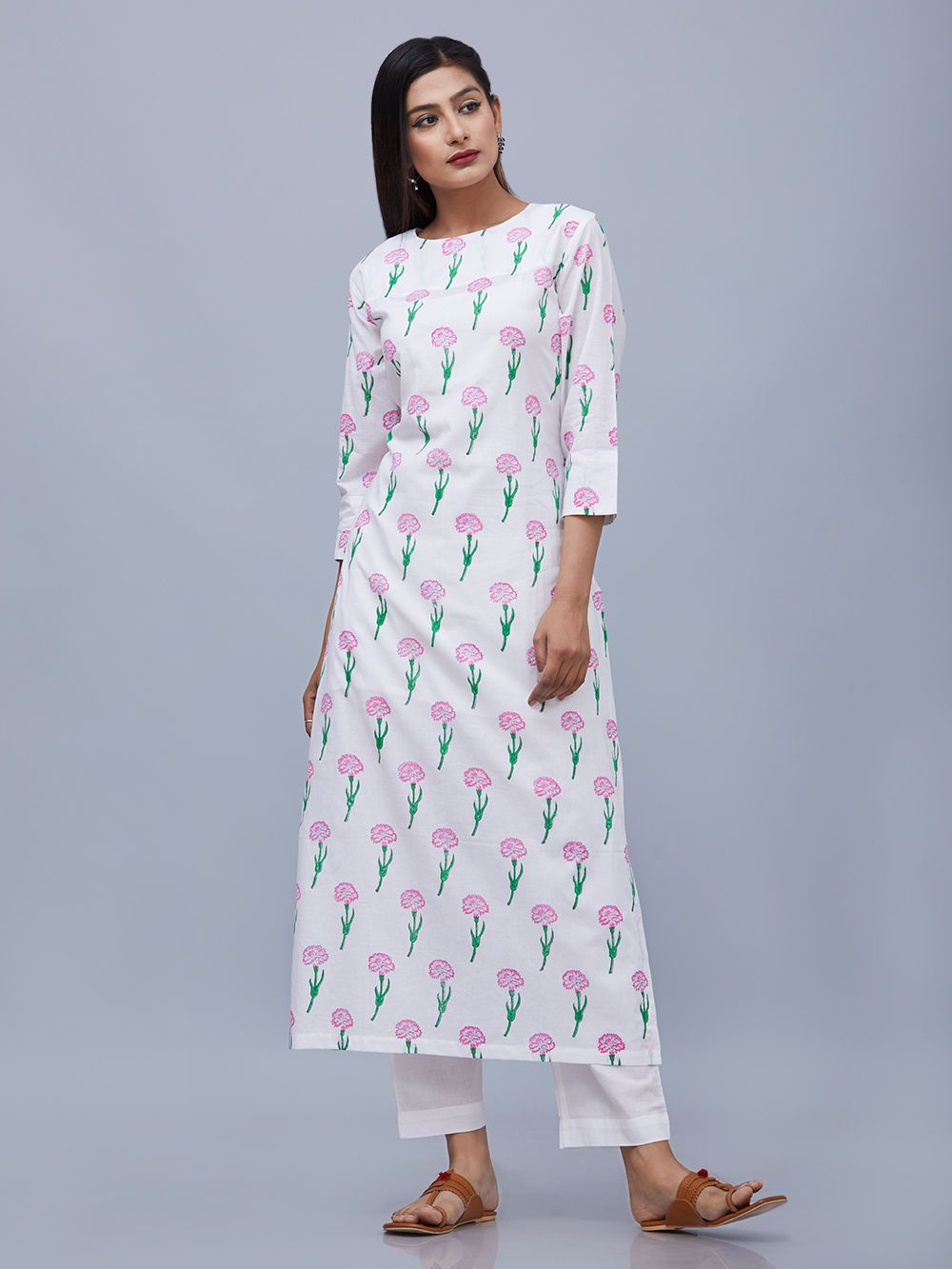 180437c0b2 White Pink Cotton Hand Block Printed Floral Kurta Simple Kurti Designs,  Kurta Designs Women,