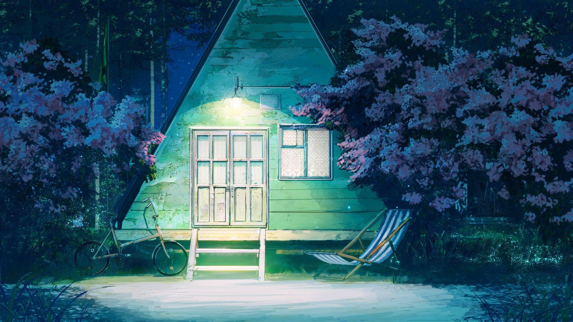 Lights Hammocks Starry Night Everlasting Summer Arsenixc Triangle Bicycle Trees Wallpaper Anime Scenery Scenery Background Background