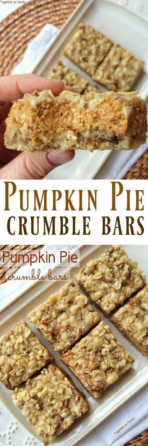 Pumpkin Pie Crumble Bars | Together as Family | Pumpkin ...