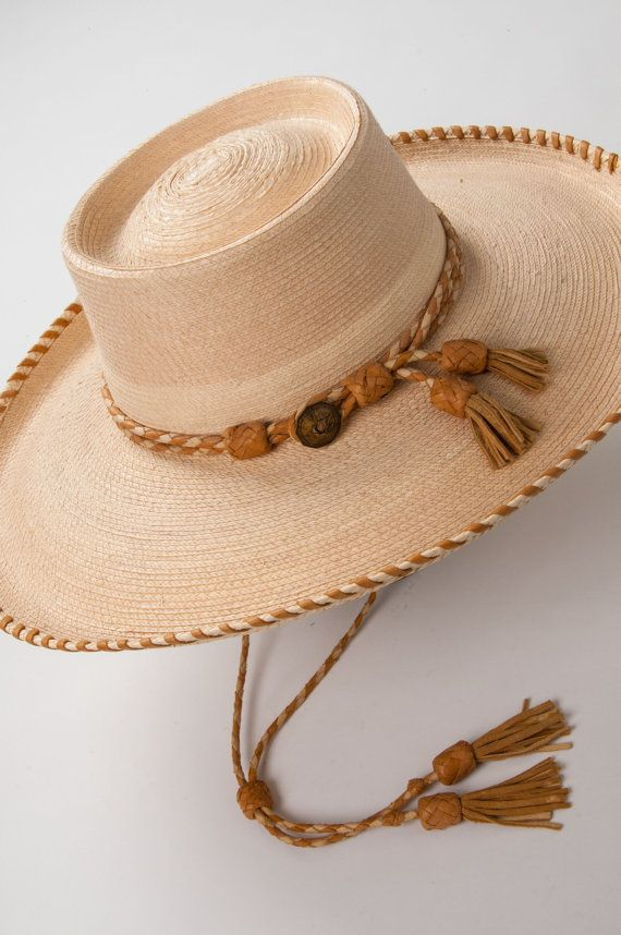 Custom Western Style Flat Crown Mens Straw Hat Hand Laced Leather Brim Hat  Band Chin Strap Stampede String with Leather Tassels a8d7c1ec669