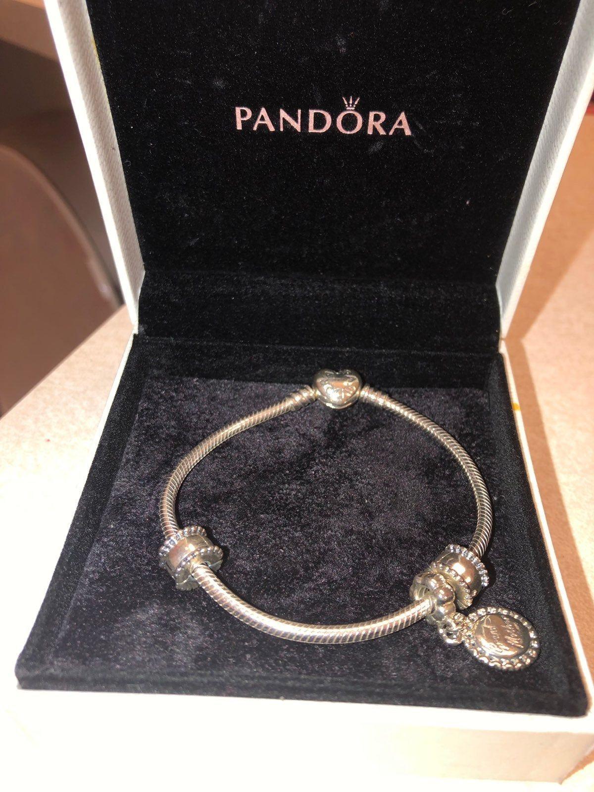 Pandora Moments Heart Clasp Snake Chain Bracelet *Grandmother ...