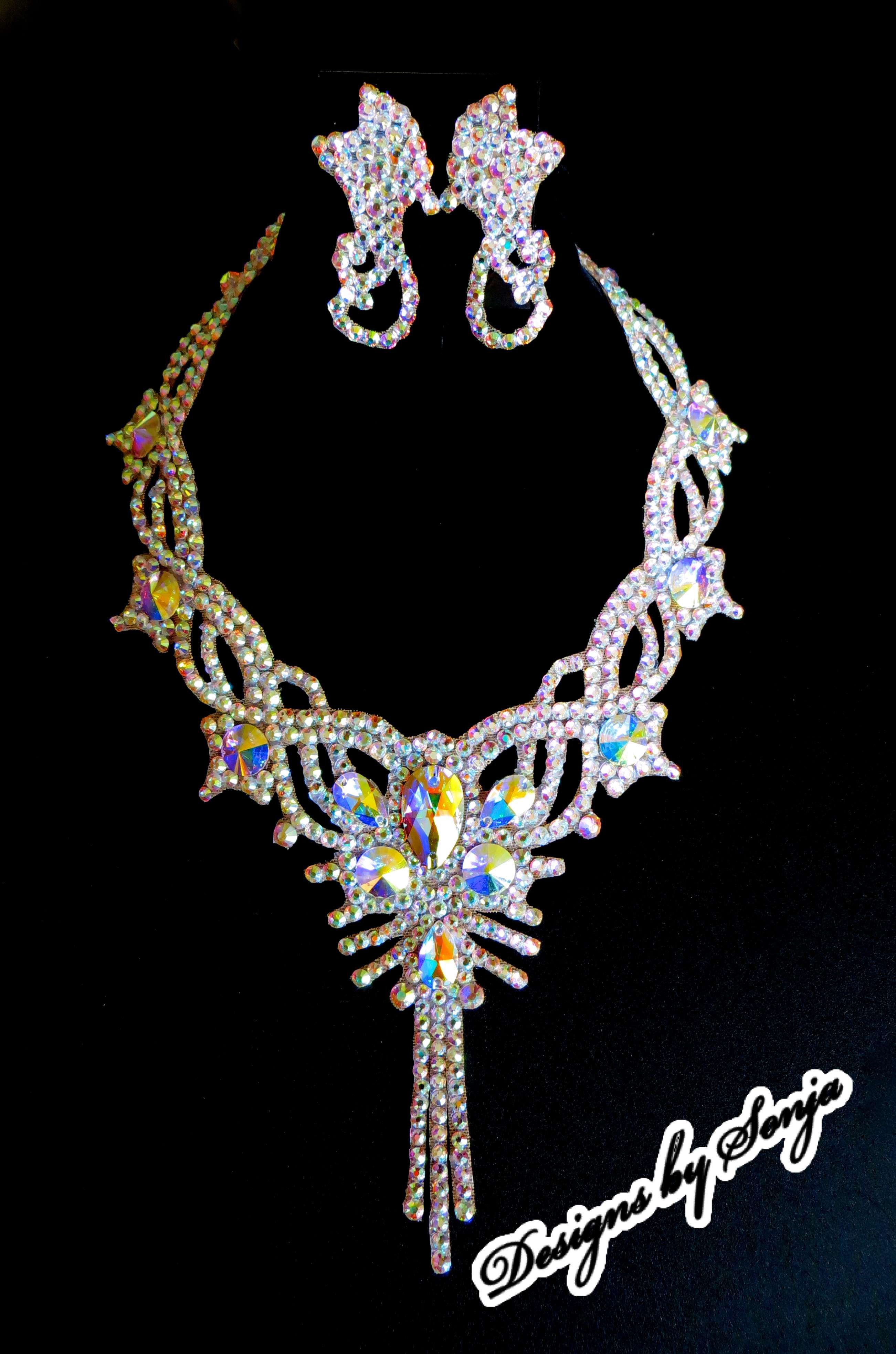 Ballroom jewelry, ballroom accessories, Swarovski Crystal necklace and earrings designed and created by Sonja Ballin. All Jewelry Designs copyright ©2014, Sonja Ballin of Tampa Bay, Florida. www.sonjadesigns.com Check us out (and like) on Facebook: https://www.facebook.com/pages/Designs-By-Sonja/220737151285770