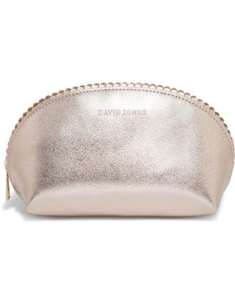 Shop Offer Cheap Online Big Sale Cheap Online Small Scalloped Edge Beauty Bag - Gold David Jones Beauty 83Y4zp6