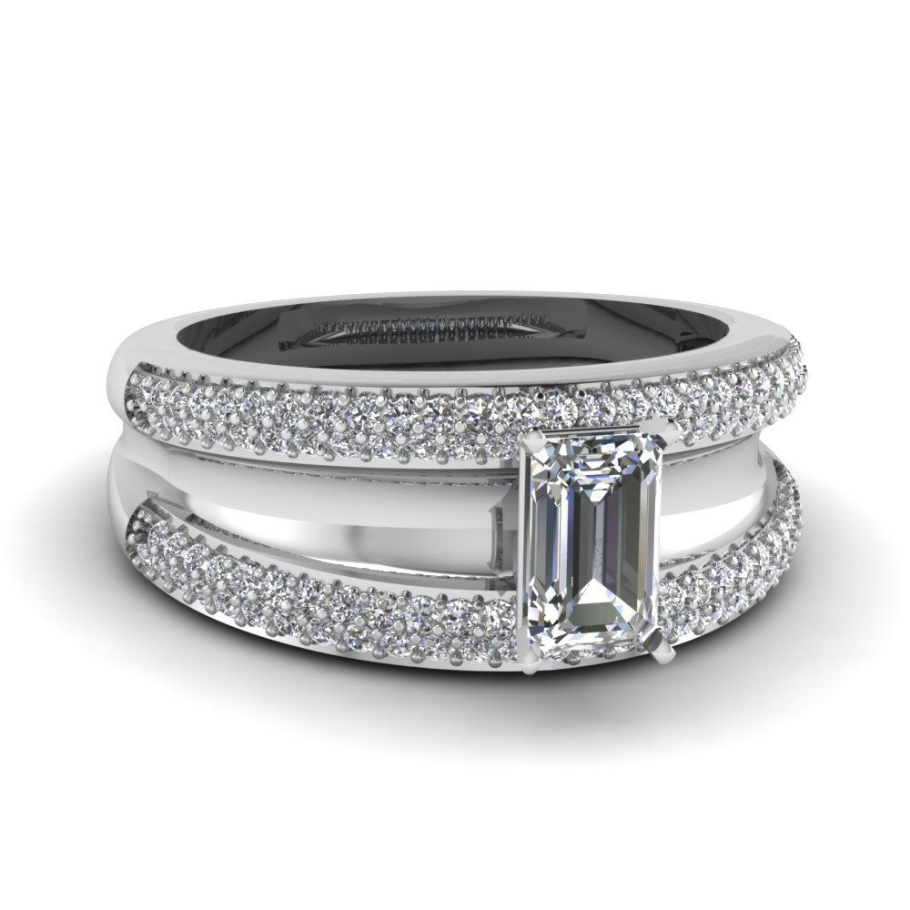 d342b7008899 1 carat emerald cut split band diamond engagement ring in 18K white gold  FD67818EMR NL WG