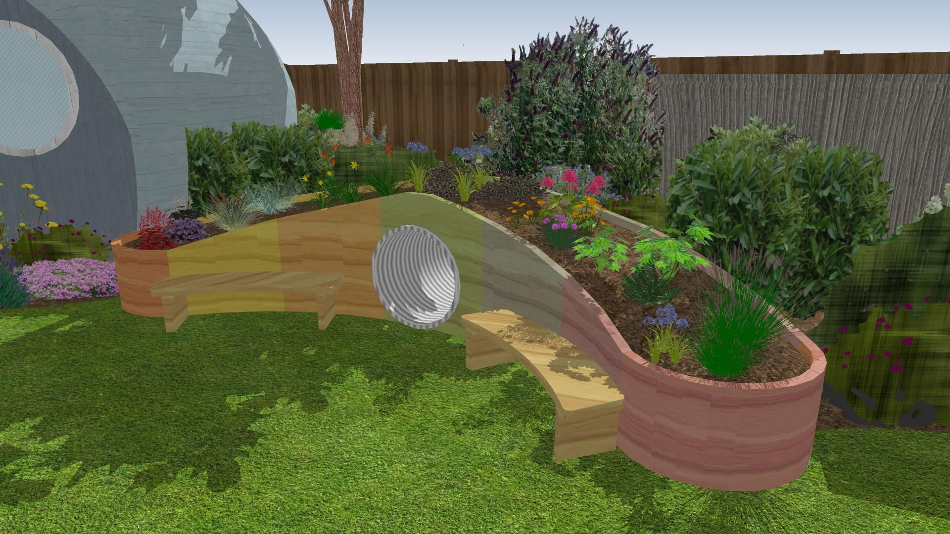 Garden Design For A Primary School Lots Of Fun Features Incorporated To Keep Children Stimulated And Active Garden Design Garden Garden Bridge