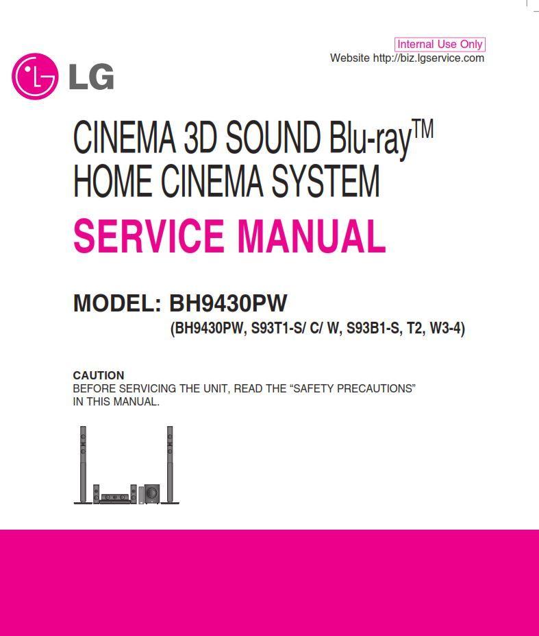 LG BH9430PW Home Cinema System Original Service Manual and Repair