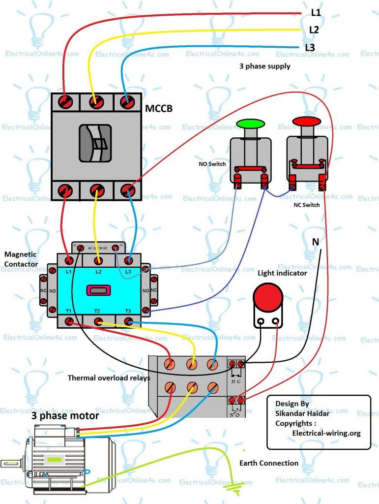 Three Phase DOL Starter Wiring Diagram With MCCB Contactor | Electrical  wiring, Electrical circuit diagram, Home electrical wiringPinterest