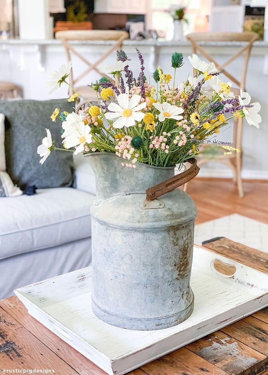 rustic farmhouse flower arrangements
