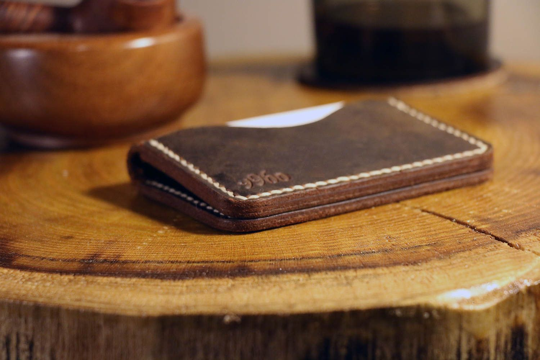 Personalized Business Card Holder, Leather Men Wallet, 3 Pocket Card ...