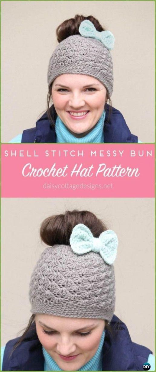 Crochet Shell Stitch Messy Bun Hat Free Pattern - Crochet Ponytail Messy Bun Hat Free Patterns & Instructions #knittingpattern #knitting #pattern #headband #messybunhat
