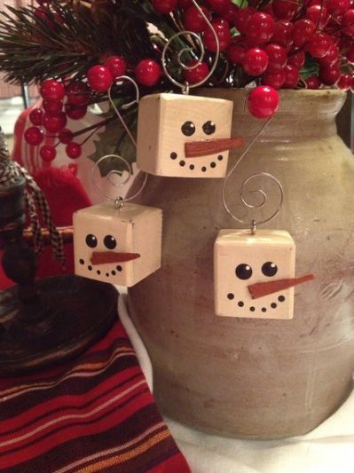 Primitive Snowman Cubed Wood Christmas Crafts Pinterest