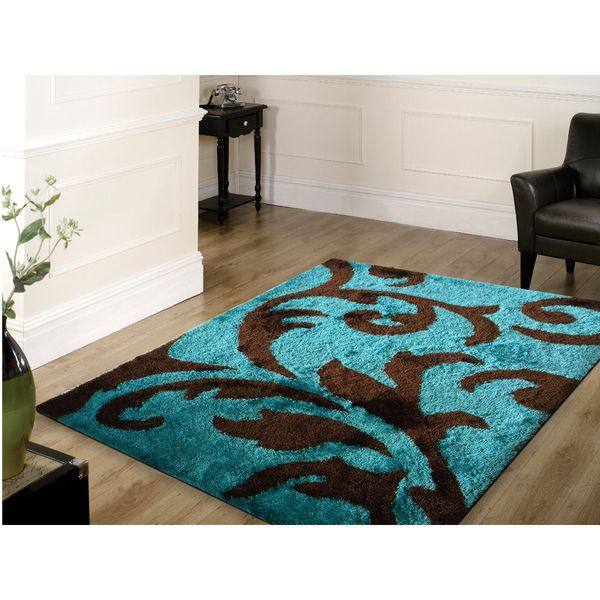 rug addiction hand tufted polyester turquoise and brown shag area