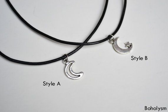 Silver Hollow MOON CHOKER Necklace  Moon with Star by Boholysm, $10.00