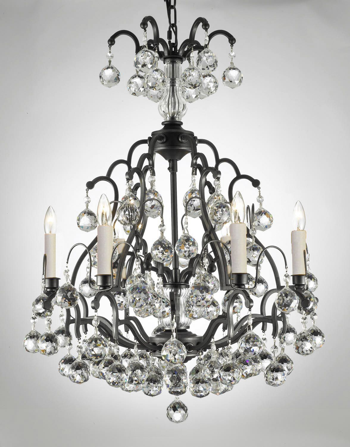 A83 B6 443 6 Wc Gallery Wrought With Crystal Chandelier Crystalscrystal Chandelierswrought Iron