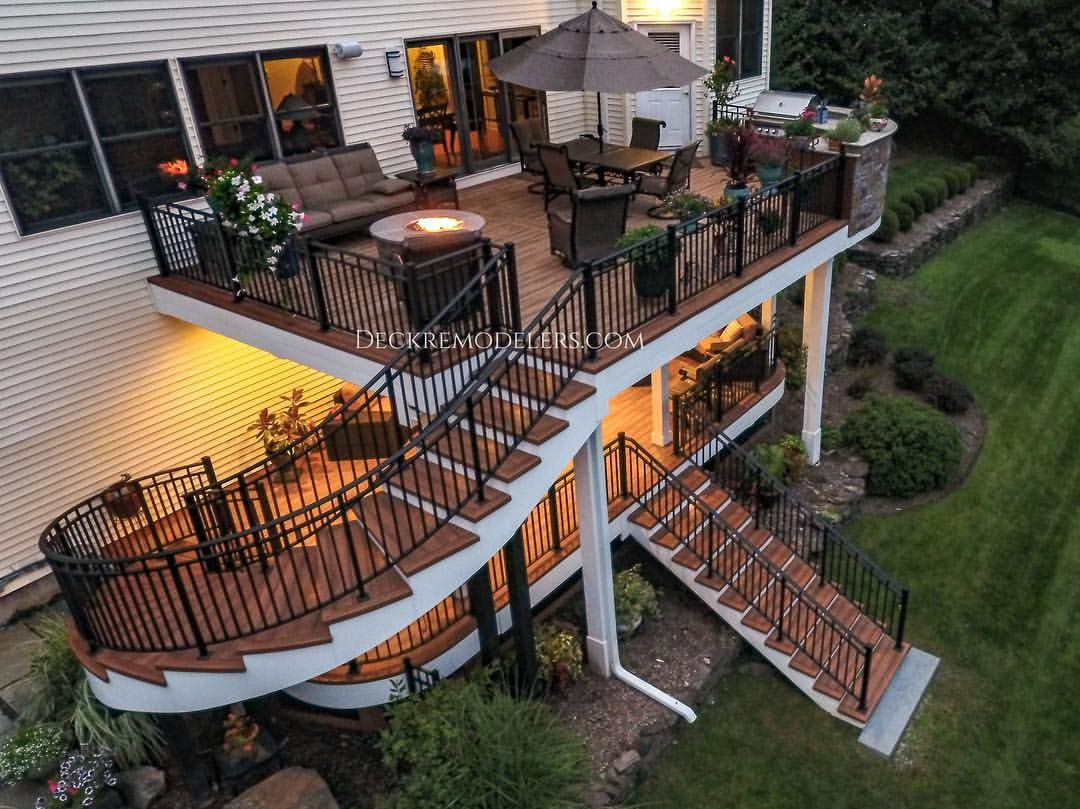 Another Glance At This Awesome Deck The Unique Staircase Fire Pit Completed Under Deck And Cust Dream House Exterior Deck Designs Backyard Building A Deck