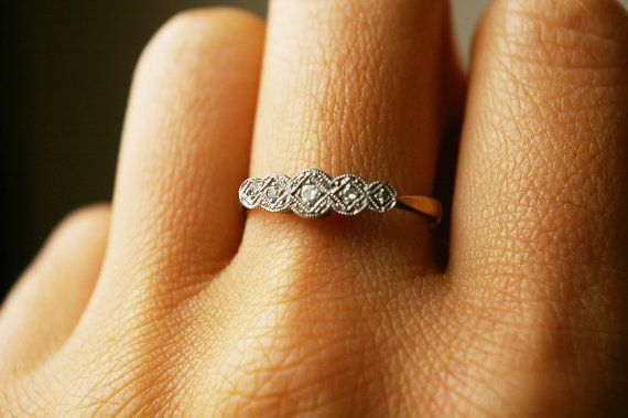 Edwardian Antique Diamond Platinum ring...so cute
