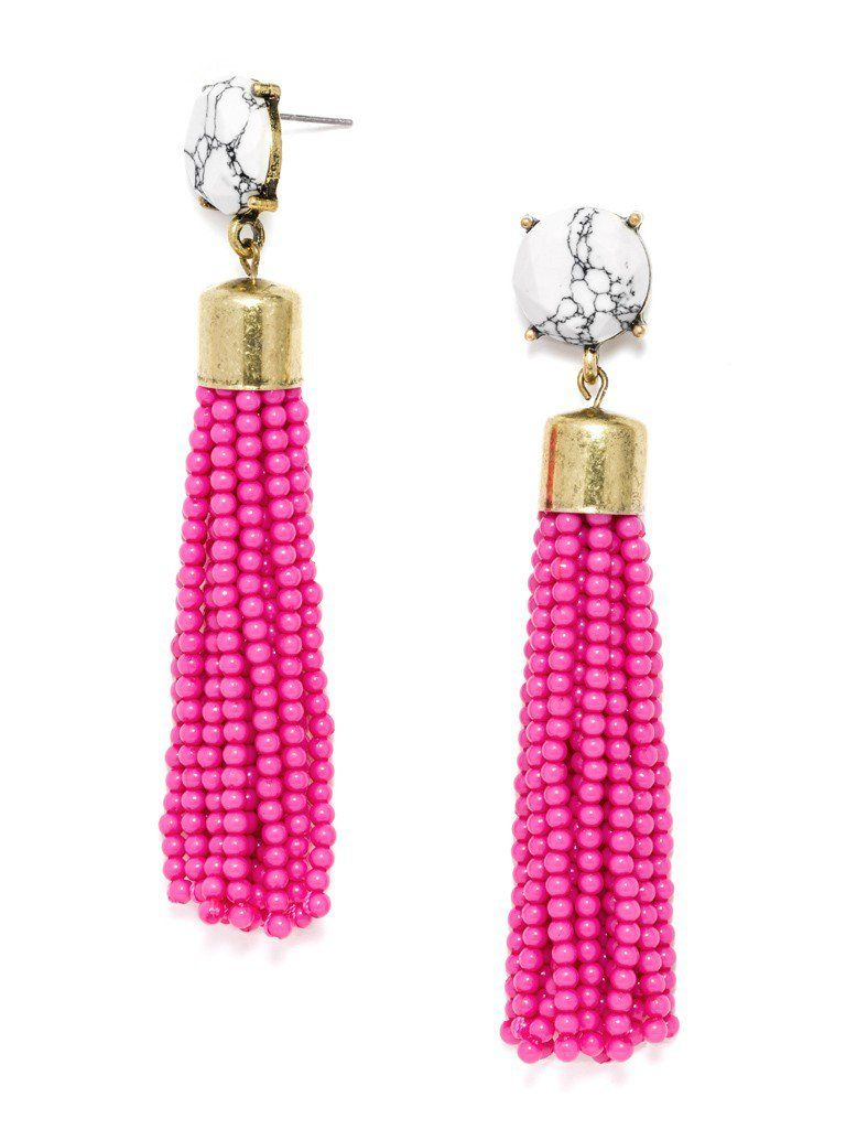These funky beaded tassels are the perfect shoulderskimming