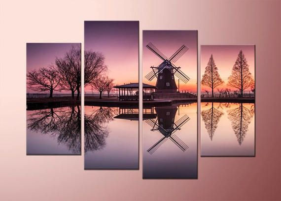 Framed canvas print wall art, one piece or 4 pieces, holland water ...