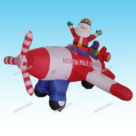 Animated - 8 Foot Wide Christmas Inflatable Santa Claus Flying - christmas blow up decorations