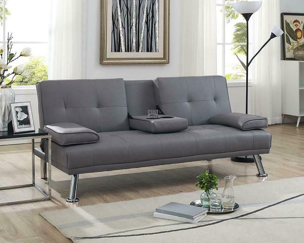 Faux Leather Futon Sofa Bed Fold Down Sleeper Convertible