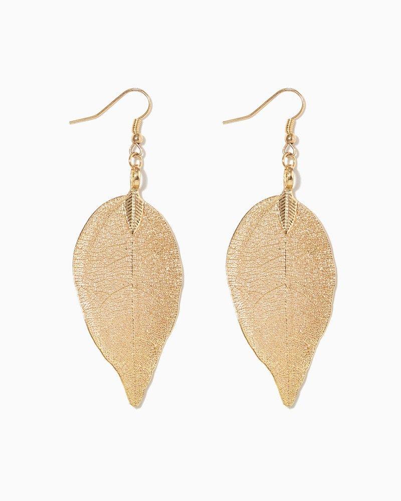 71051c014 charming charlie   Go Large Leaf Earrings   UPC: 410007193580 # charmingcharlie