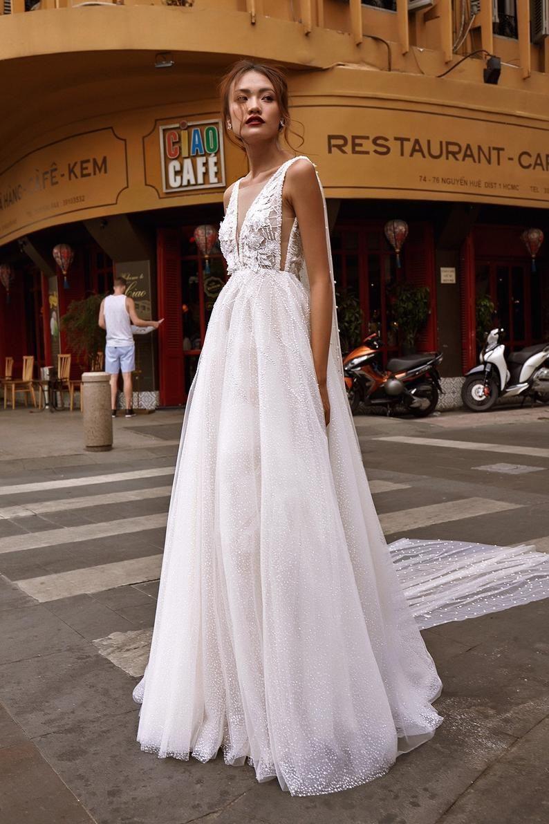 Jonnie Aline Wedding Dress With Plunge Neck Open Back Etsy A Line Wedding Dress Cape Wedding Dress A Line Bridal Gowns [ 1192 x 794 Pixel ]